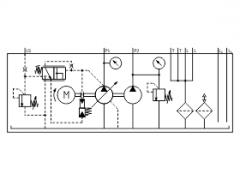Hydraulic power unit with LS variable and constant displacement pump combination, Y circuitry