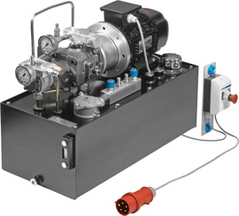 Hydraulic power pack with LS variable and constant displacement pump combination, three-phase AC, variants